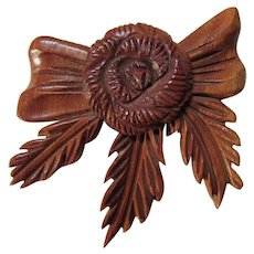Unusual Vintage Wood Brooch in Flower Design Deeply Carved 1940/1950 Era Free Shipping USA