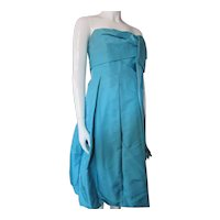 1960 Era Cocktail Strapless Dress Turquoise Silk