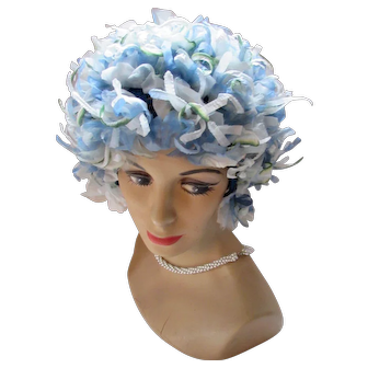 Wildly Bouffant 1960 Era Hat in Blue Petals and Tendrils on Knit Cap