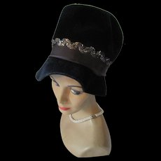 Mid Century Hat Lampshade or Bucket Style in Black Velour with Sequins Made in Italy