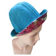 Mr. John Young Elegants Vintage Bucket Hat in Bright Turquoise and Pop Art Floral