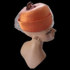 High Fashion Hat in Shiny Copper Satin with Beaded Top Knot Wieboldt's Chicago