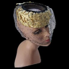 Spring Topper Hat in Lemon Yellow Cellophane Straw Open Crown Black Flocked Veil Bramson Irene of New York