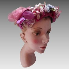 Spring or Summer Hat in Shades of Pink and Lavender Millinery Flowers 1950 Style Bramson Oak Park