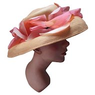 Lovely Peach Straw Wide Brim Hat with Pink Organdy Flowers Garden Party by Betmar