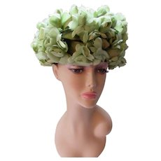 Amazing Bubble or Bouffant Hat in Spring Green Profusion of Flowers Mid Century Style Spring or Summer Hat 1960 Era
