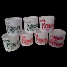 Vintage 1970/80 Christmas Mugs by Anchor Hocking and Federal Glass in Red and Green
