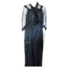 1920 1930 Era Black Taffeta and Net Long Dress with Ribbon and Velvet Accents