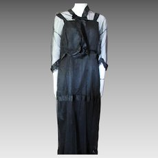 1920 1930 Era Black Taffeta and Net Long Dress with Ribbon and Velvet Accents