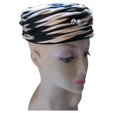 Mid Century Pillbox Hat in Black & Cream Roberta Bernays