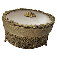 Ormolu Styled Dresser Box with Filigree Collar and Opaque Glass Insert Dish