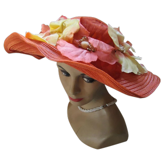 Wide Brim Straw Hat in Juicy Citrus Colors for Summer or Spring Garden Party Designed by Patrice