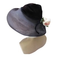 Mid Century Hat Mushroom Style Navy & Purple Pink Rose Doree