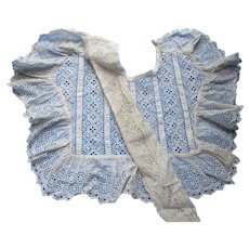 Remnant Child's Early 20th Century Lace Bodice Yoke for Doll Clothing or Re-Purposing