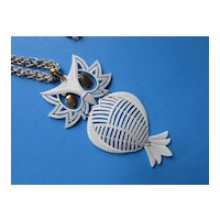 White Owl Necklace Pendant on Double Chain by Alan