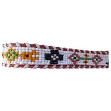 Ladies Beaded Leather Belt with American Indian Designs in Blue, Green, Gold with Whipstitching