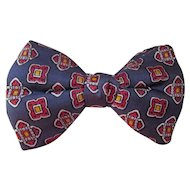 Vintage Mens Bow Tie in Red, Yellow and Gray Foulard by Royal Rust Resistant Unisex Free Shipping USA