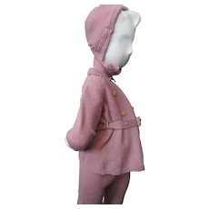Adorable Child's Winter Knit Suit and Cap Ashes of Rose