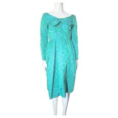 Gorgeous Vintage Cocktail Evening Dress in Emerald Green and Blue Brocade Size XS
