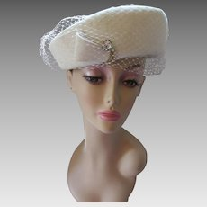 Winter White Hat in Imported Fur Felt by Sunnyland Modified Breton with Clear Rhinestone Spray Decoration