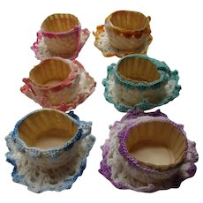 Six Crochet Nut Cups Hand Made Cup & Saucer Tea Table Treats Childrens Parties