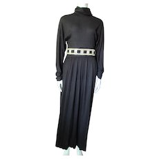 Black Knit Dress with Turtleneck Long Dolman Sleeves Gold Metallic and Knit Belt Size 13/14
