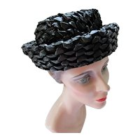 Hat Mid Century Black Woven Rolled Brim Breton Style by Gimbels