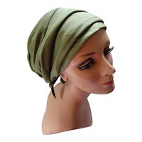 Turban Style Fabric Hat in Pistachio Green