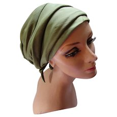 Turban Style Fabric Hat in Pistachio Green