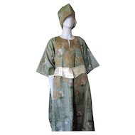 Amazing Ethnic Caftan and Pants Green with Embroidery and Quilting Size Large