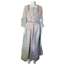 Outstanding 18th Century Colonial Style Dress in Pink and Green Brocade with Lace and Ribbon Accents Reproduction Costume