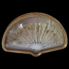 Ladies Fan in Ornate Frame Cream Tissue and Gold Sequins Fan Shaped Home Decor