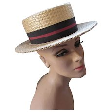 Handsome Straw Boater Hat with Striped Ribbon Band Cosmopolitan Size 6 7/8