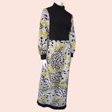 1970 Era Long Gown Black Yellow Floral Knit Fred Rothschild of California