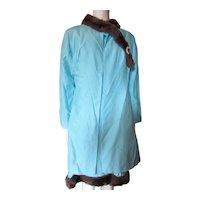 1960 Era Coat and Sheath Set Robin Egg Blue Faux Fur
