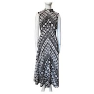 1970 Era Long Gown in Black and White Pop Art Style Blossoms Polyester Sleeveless for Summer or Resort Cruise Wear
