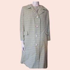 Peck & Peck Knit Coat Sheath Set Spring Green White Grid Pattern
