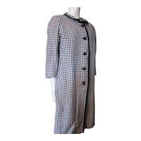 Bernice Mottz Knit Coat Sheath Set in Navy and White Check