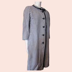 Bernice Mottz Knit Coat Sheath Set in Navy and White Check