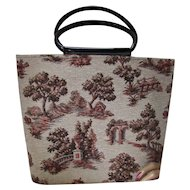 Work Bag Tote for Sewing or Knitting in Autumn Browns and Rusts Toile Design Black Plastic Handles