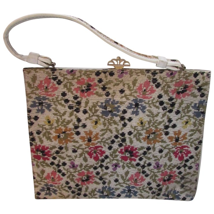 Needlepoint Handbag Purse Just Like Grandma S Flower Design In Pink Yellow Blue And Cream Vinyl