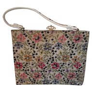 Needlepoint Handbag Purse Just Like Grandma's Flower Design in Pink Yellow Blue and Cream Vinyl