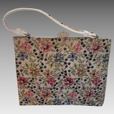 Needlepoint Handbag Purse Just Like Grandma's Flower Design in Pink Yellow Blue and Cream Vinyl