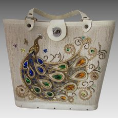 Tote Purse with Beaded Peacock in Topaz  Cobalt and Emerald with Gold Accents 1970 Era Kit Purse