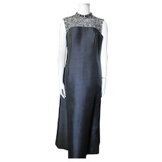Gorgeous Dynasty Black Evening Gown Sheath Style with Beaded Yoke Special Occasion Dress Size 14 Hong Kong