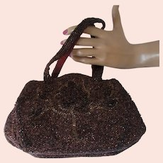 Charlet Beaded Bag Purse in Copper Tone 1940/1950 Style