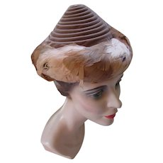 Unusual Conical Hat in Coils of Cocoa Velvet and Feather Band 1940 1950 Style