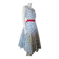 Cute 1950 Era Dress in Red White Blue Sun Bursts Wayne Maid