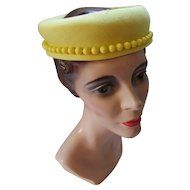 Bright Lemon Yellow Open Crown Pill Box Hat with Beaded Edging Union Made