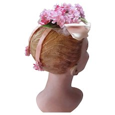Dainty Whimsy Hat in Delicate Shades of Pink and Lavender Flowers and Ribbons